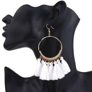 Jewelry - Boho White Dangle Tassel Earrings